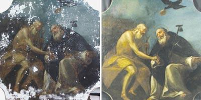 Before and after: St Anthony the Abbot meeting St Paul the Hermit, one of three 18th century paintings at Tal-Providenza chapel that were restored by members of ReCoop, the Restoration and Conservation Cooperative.