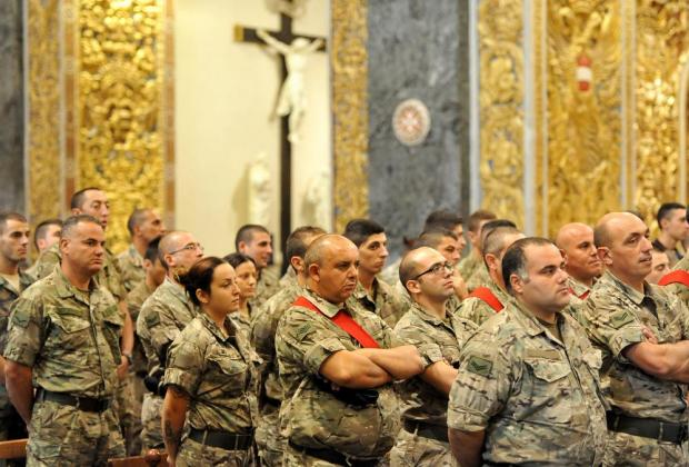 Members of the Armed Forces of Malta attend the commemoration Mass at St John's Cathedral to mark the 45th anniversary of the AFM on October 16. Photo: Chris Sant Fournier