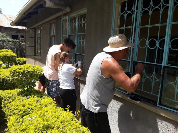 Volunteer workers carry out maintenance works.