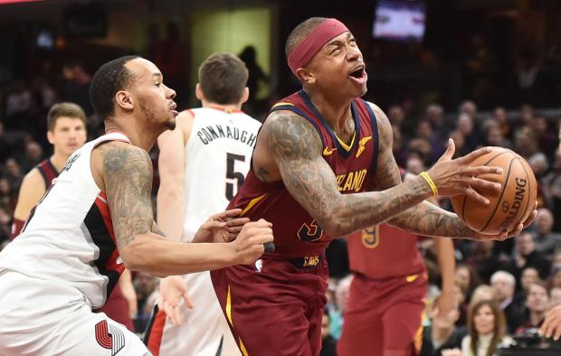 Cleveland Cavaliers guard Isaiah Thomas (3) drives to the basket against Portland Trail Blazers guard Shabazz Napier (6) during the first half at Quicken Loans Arena. Photo: Ken Blaze-USA TODAY Sports