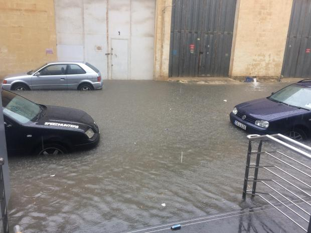 Water reached the top step of the Atrium in Mriehel.
