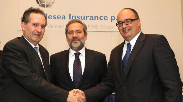 Outgoing Middlesea Chairman Joseph F X. Zahra, and  Alfredo Munoz Peres, President and CEO, welcoming newly appointed Chairman Martin Galea.