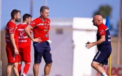 National coach Ray Farrugia (right) during training. Photo: Paul Zammit Cutajar/MFA