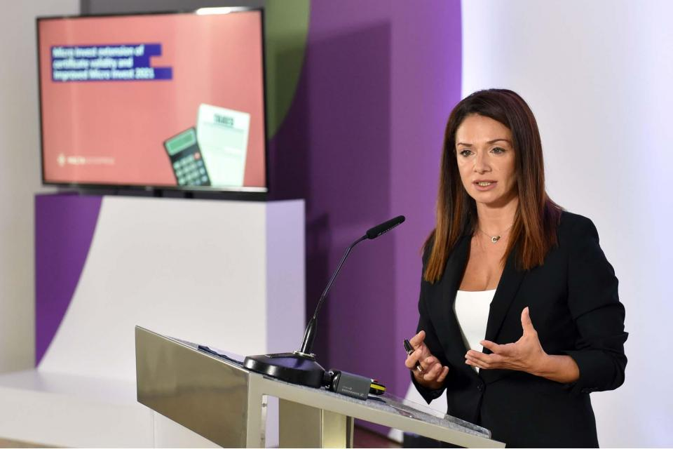 Miriam Dalli addressing the news conference. Photo: Jeremy Wonnacott, DOI