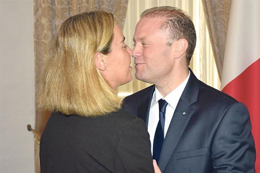 Prime Minister Joseph Muscat welcomes EU High Representative for Foreign Affairs Federica Mogherini on November 2, 2016. He hosted two EU summits in Malta as well as a Commonwealth heads of government meeting, but failed in his ambition to land a top EU post..