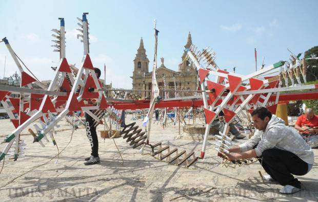 Fireworks are set up for the feast of St. Publius on the Granaries in Floriana on April 8. Photo: Matthew Mirabelli