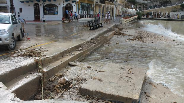 "Xlendi's sandy beach washed away - Picture Andrea Muscat - <a href=""mailto:mynews@timesofmalta.com"" target=""_blank"">mynews@timesofmalta.com</a>"