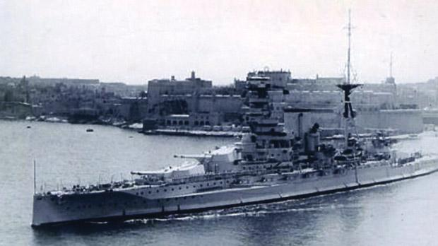 HMS Barham in Malta in August 1936. Joe Micallef served on this battleship from August 1926 to January 1929.