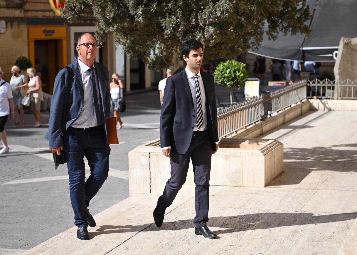 Peter Caruana Galizia and son Paul enter the court room. Photo: Mark Zammit Cordina