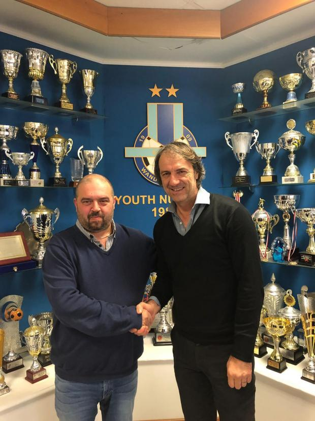 Sliema president Keith Perry (left) with new coach Stefano Maccoppi.