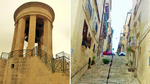Siege Bell Memorial in Valletta. Right: Steps in Valletta. Photos: Patricia Mccardle