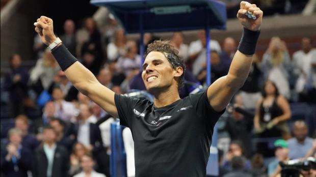 Rafael Nadal of Spain after beating Juan Martin del Potro of Argentina.