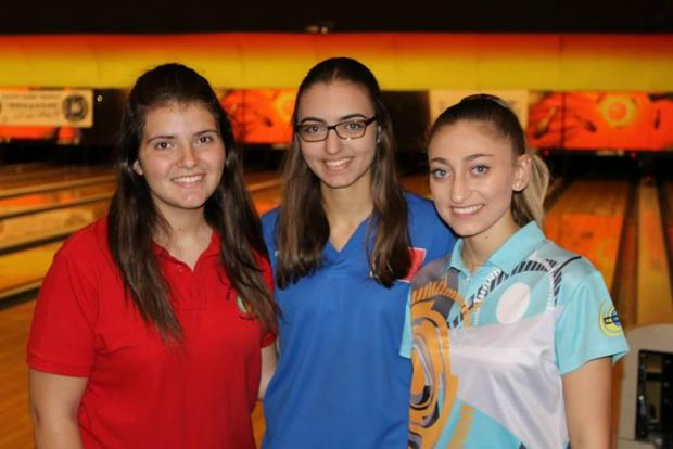 From left: Maltese bowlers Juliana Bonanno, Raquel Xuereb and Sara Xuereb.