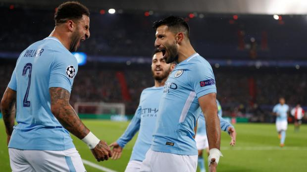 Image result for kyle walker city celebrate aguero