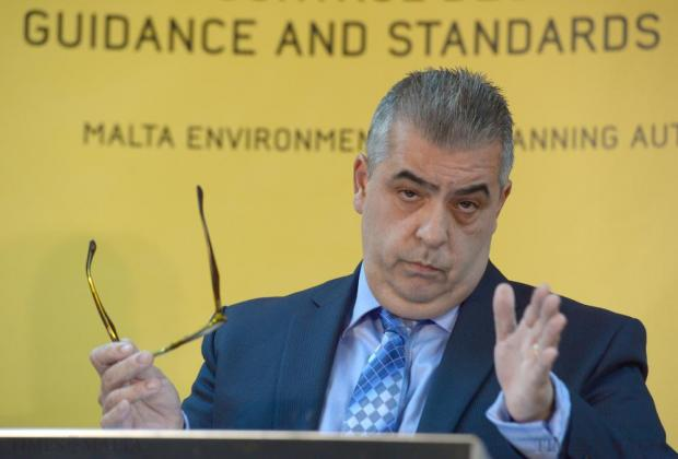 Michael Falzon addresses member of the press at MEPA on November 9. Photo: Matthew Mirabelli