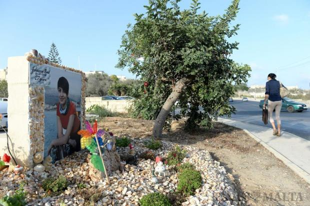 The shrine in memory of Johanna Boni, 27, who died in a motorcycle crash last January on the outskirts of Mosta on September 16. The grieving parents of Johanna Boni, are hoping that their daughter's mobile phone is returned to them, as it contained photos, videos and messages of great sentimental value. Photo: Matthew Mirabelli