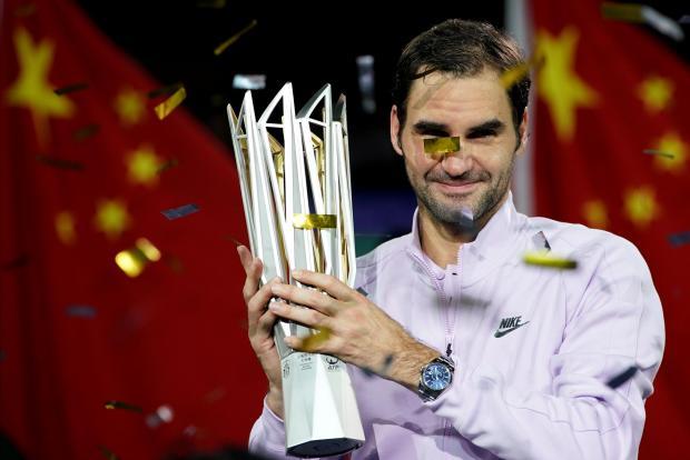 Roger Federer of Switzerland celebrates winning against Rafael Nadal of Spain.