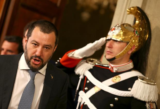 League party leader Matteo Salvini leaves after a meeting with Italian President Sergio Mattarella.