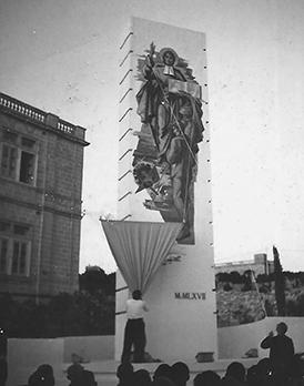 The monument dedicated to St John Baptist De La Salle, the founder of the Brothers of the Christian Schools, being unveiled by Bro Charles Henry Buttimer FSC, Superior General, in 1967.