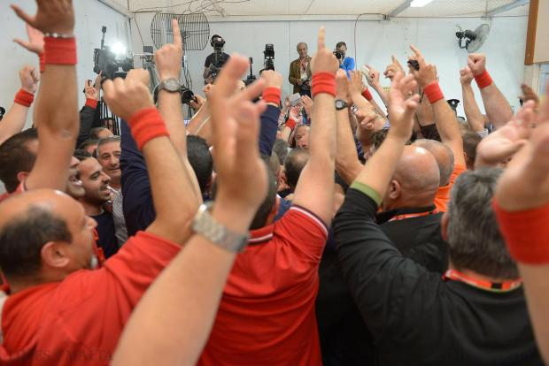 Labour party counting agents celebrate after a brief press statement at the counting of the votes in the Local Council Elections in Naxxar on April 18. Photo: Matthew Mirabelli