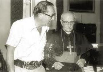 Dom Mintoff with his rival Archbishop Gonzi.