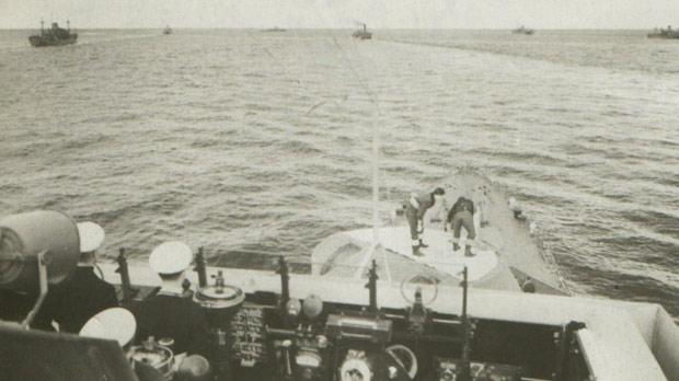 A view from the bridge of HMS Euryalus as she escorts convoy Operation Stoneage.