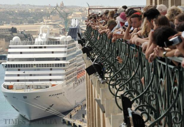 The cruise liner MSC Poesia is berthed in Grand Harbour on September 21. Photo: Chris Sant Fournier