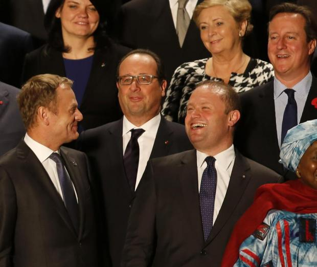 (Left to right) European Council President Donald Tusk, French President Francois Hollande, Maltese Prime Minister Joseph Muscat and British Prime Minister David Cameron attend the opening ceremony of the Valletta Summit on Migration in Valletta on November 11. Photo: Darrin Zammit Lupi