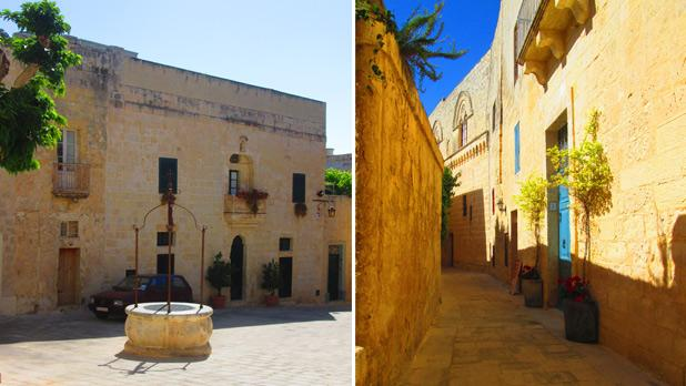 Wishing Well in Mdina. Right: Road with the blue door. Photos: Amy Mallia