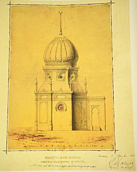 A drawing of the mosque that was planned for the Ottoman Muslim cemetery in Marsa in 1883.