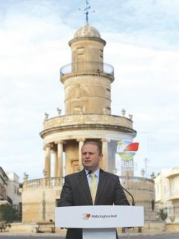 Labour leader Joseph Muscat speaking in<br />front of Lija's Belvedere Tower yesterday.<br />Photo: Darrin Zammit Lupi