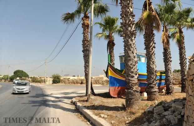 A Luzzu fishing boat is parked on the road between Zejtun and Marsascala on August 10. Photo: Chris Sant Fournier