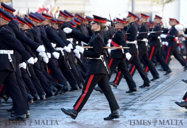 Members of the AFM march through St George's Square, Valletta during the Republic Day parade on December 13. Photo: Matthew Mirabelli