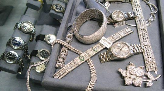 Luxury watches and jewellery on display at Beverly Loan Company, an upscale pawn shop in Beverly Hills, California.