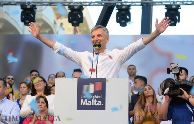 Simon Busuttil address the crowd during a mass meeting in Sliema on May 28. Photo: Matthew Mirabelli