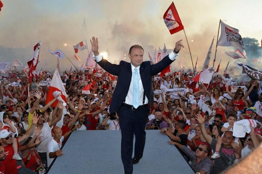 Muscat celebrates the 2017 electoral result.