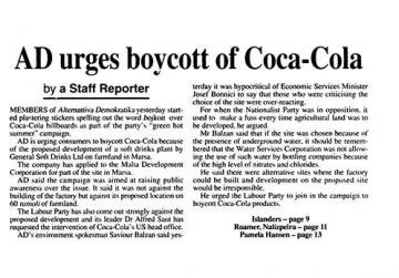AD's Coca-Cola boycott campaign in 1995, as reported by The Sunday Times of Malta.