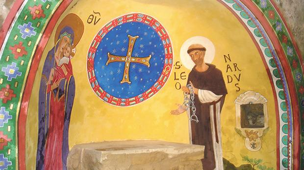 The new painting in the cylindrical apse.