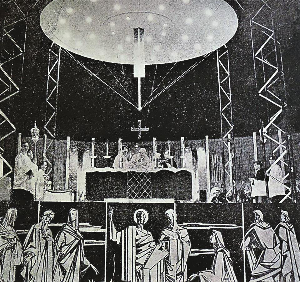 A photo from 1960 shows the panels incorporated into the main stage set up for the Pauline celebrationsin Floriana.