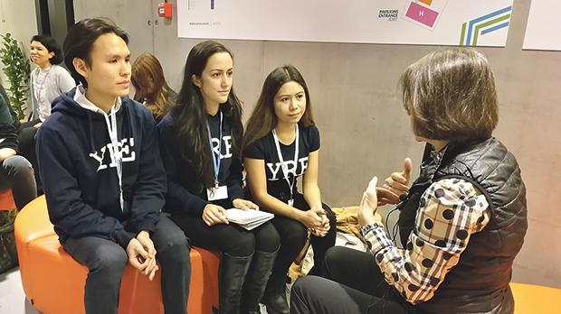 The author (centre) with fellow YRE students Lovely (right) from Canada and Wesley from Singapore, interviewing Lisa Manley, senior director, Sustainability Engagement and Partnerships, Mars Inc., at COP24 in Katowice.