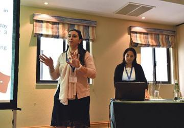 Digital literacy support teachers Daniela Scicluna and Michelle Saliba. leading a workshop.