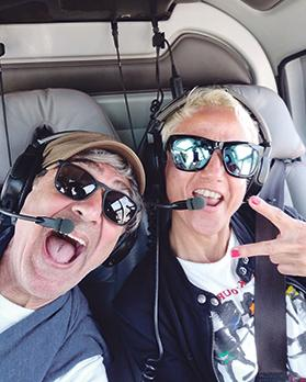 """""""Being ourselves"""": Chris and Moira on a helicopter flight in Cape Town, South Africa, a few weeks ago."""
