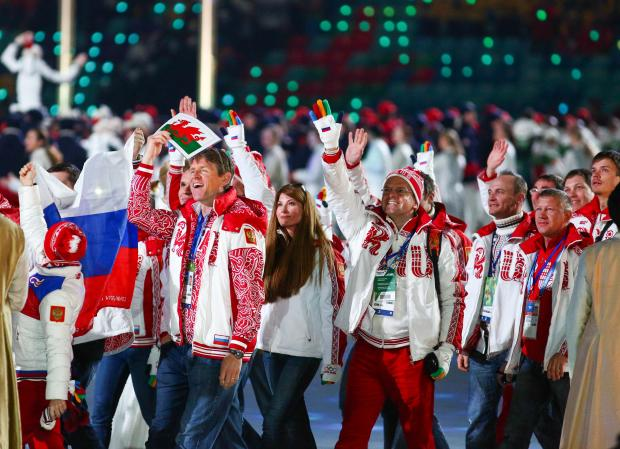 Russian athletes at closing ceremony in Fisht Olympic Stadium at the Sochi 2014 Olympic Games.