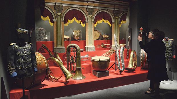 A selection of brass and percussion instruments