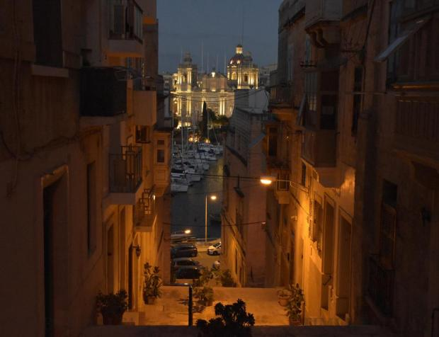 Newly-installed lights on the Vittoriosa church are seen from a stepped street in Senglea on March 4. Photo: Mark Zammit Cordina