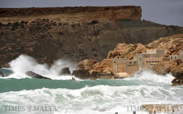 Force seven winds and waves batter Gnejna Bay on April 25. Photo: Chris Sant Fournier