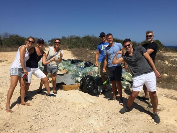 Volunteers clean up parts of Baħar ic-Cagħaq.