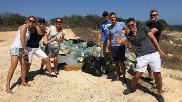 Volunteers cleaned up parts of Baħar ic-Cagħaq.