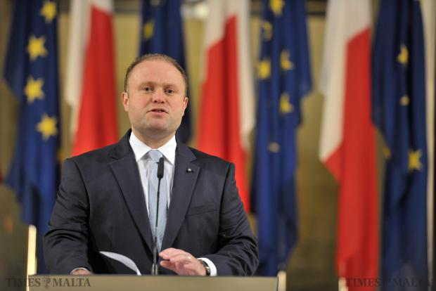 Prime Minister Joseph Muscat announces the date of the spring hunting referendum at a press conference at Castille in Valletta on January 10. Photo: Jason Borg
