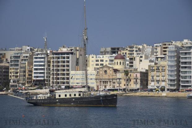 An old sailing vessel and Nazzarenu Church in Sliema are seen from Fort Manoel on September 14. Photo: Mark Zammit Cordina